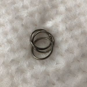 Silver Trinity Ring Connected Interlocked Circles